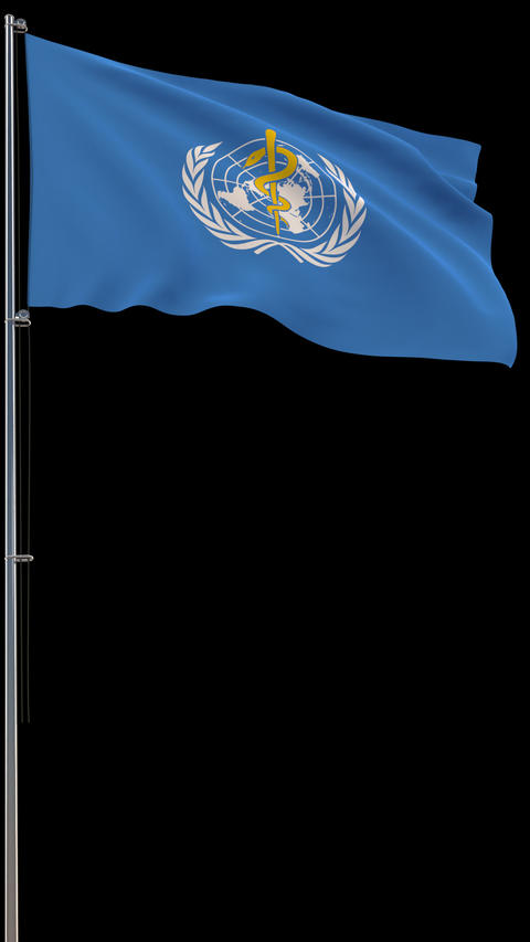 Flag of WHO on transparent, 3d rendering, footage with alpha, vertical video Live Action