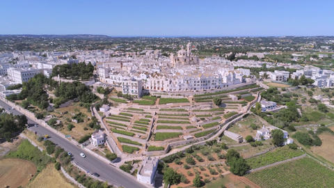 Aerial view of Locorotondo, Italy Live Action