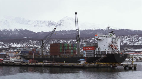 Container Ship in the Ushuaia Harbor GIF