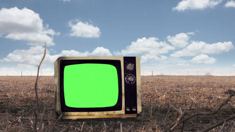 Retro Television Green Screen on Rural Background GIF