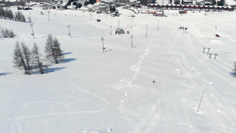 One person skiing on snow in Sestriere ski resort Turin Italy 2 Live Action