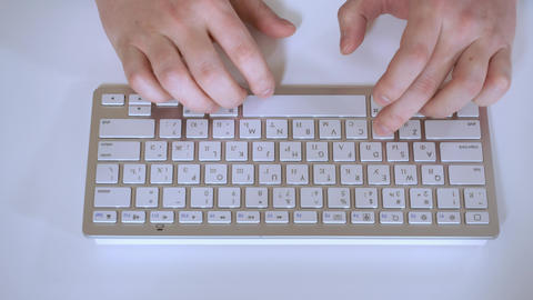 keyboard, close up, man, fingers, using, white, typing, desk, male, guy, computer, business, pc, Live-Action