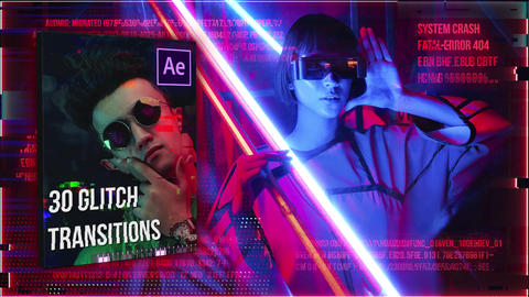 30 Glitch Transitions After Effects Template