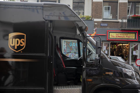 Side View Of A UPS Delivery Truck At Amsterdam The Netherlands 16-7-2020 Fotografía