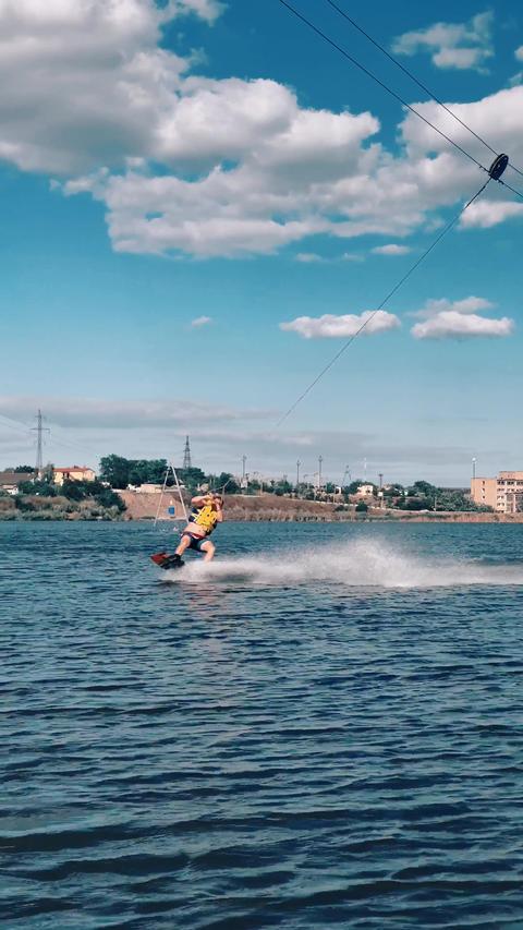 Man Doing Zip Line Wakeboarding 1 Live Action