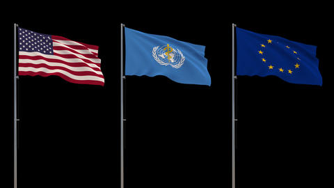 Flags USA, WHO, EU waving on transparent background, 4k footage with alpha ライブ動画