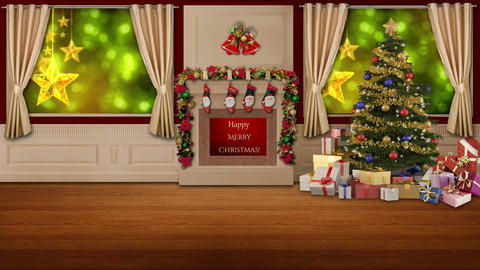 Christmas TV Studio Set 45 - Virtual Green Screen Background Loop ライブ動画