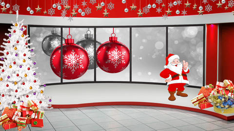 Christmas TV Studio Set 47 - Virtual Green Screen Background Loop ライブ動画