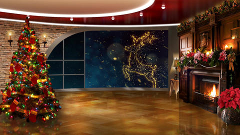 Christmas TV Studio Set 49 - Virtual Green Screen Background Loop ライブ動画