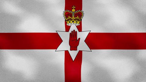 Northern Ireland dense flag fabric wavers, background loop Animation