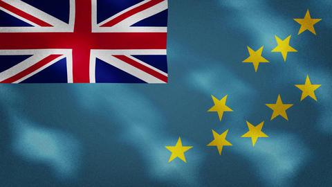 Tuvalu dense flag fabric wavers, background loop Animation