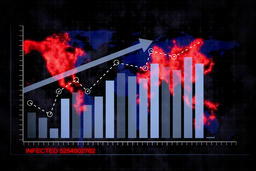 Rising blue bar graph and red virus 2 CG動画