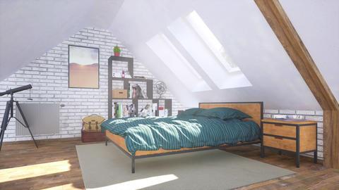 Interior of comfortable modern bedroom in attic 3D Animation