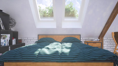 Closeup of double bed in attic bedroom interior 3D GIF