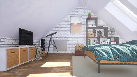 Bright modern bedroom in attic with double bed 3D GIF