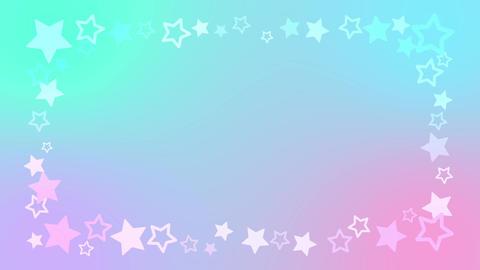 レインボーカラーがキュートな星のアニメーションフレーム CG動画