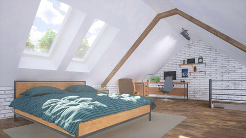 Attic interior with double bed and home studio 3D GIF