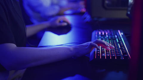 Modern cybersport team taking part in competition winning first round in GIF