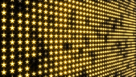 Flashing Golden, Star Shaped LED Lights Display Animation