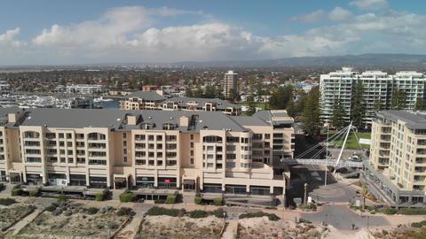 Glenelg, Australia. Aerial view of cityscape and coastline on a sunny day GIF