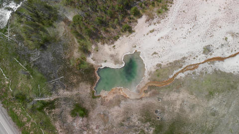 Yellowstone Geyser as seen from above. Pool in the middle of the forest, Wyoming GIF