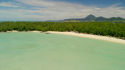 Ile Aux Cerfs in Mauritius. Panoramic aerial view of beautiful coastline from a GIF
