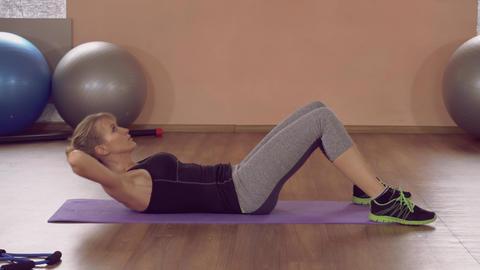 girl doing physical exercises for beauty abs ライブ動画