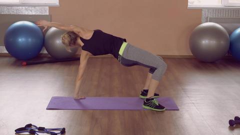 girl doing physical exercises stretch ライブ動画