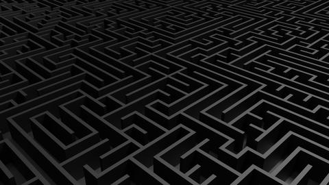 Huge black grey maze. Choices and challenge theme. Complex way フォト