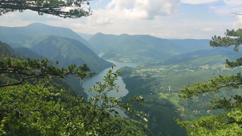 Serbia, Tara National Park, Viewpoint View on Perucac Lake on Sunny Summer Day Live Action