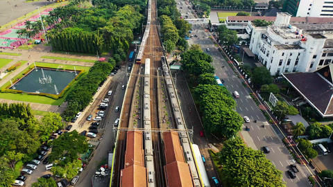 Aerial View Of A Train Station ライブ動画