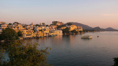 Udaipur Rajasthan India Time lapse at sunset Travel destination and tourism landmarks 3 Live Action