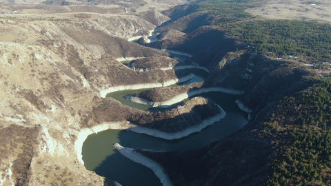 Serbia. Uvac River Gorge. Aerial View of Meanders in Special Nature Reserve ライブ動画