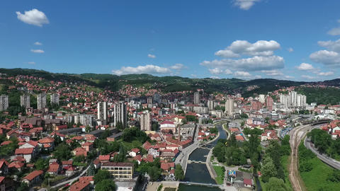 Aerial View of Uzice City, Serbia. River Beach and Scenic Cityscape in Valley Live Action