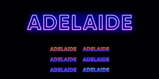 Neon Adelaide name, city in Australia. Neon text of Adelaide city Vector