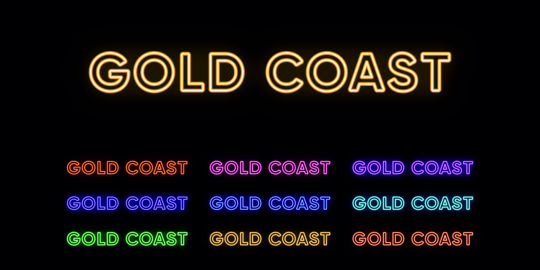 Neon Gold Coast name, city in Australia. Neon text of Gold Coast city Vector