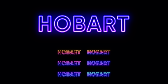 Neon Hobart name, city in Australia. Neon text of Hobart city Vector