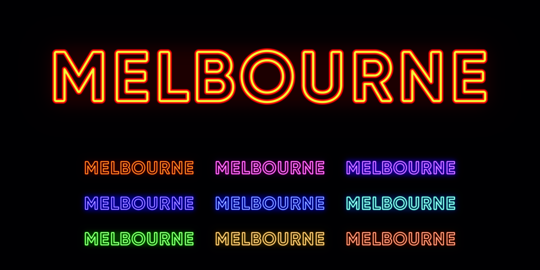 Neon Melbourne name, city in Australia. Neon text of Melbourne city Vector