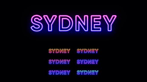 Neon Sydney name, city in Australia. Neon text of Sydney city Vector