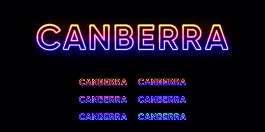 Neon Canberra name, capital city in Australia. Neon text of Canberra city Vector