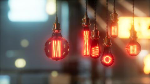old retro vintage incandescent light bulb Live Action