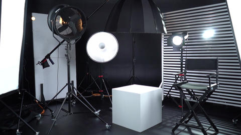 Modern photo studio with professional lighting equipment Dark room cyclorama 4 Live Action