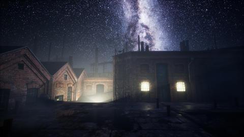 Milky Way stars above abandoned old fatory Acción en vivo