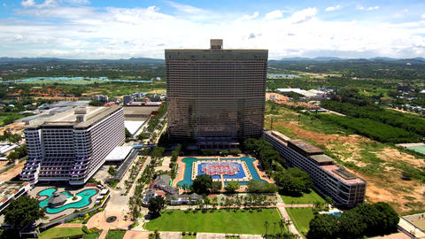 4K view from the air on the large prestigious tall hotels on the Thai coast. There are large Live Action