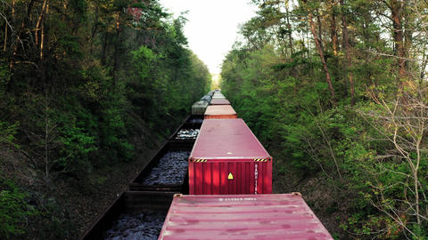 A Cargo Train Transporting Containers Of Goods Live Action
