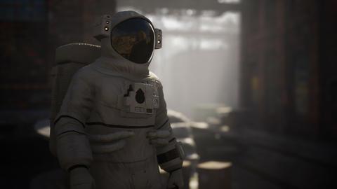 Lost Astronaut near Abandoned Industrial Buildings of Old Factory Acción en vivo