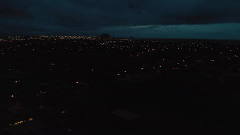 Aerial night panorama of small city with car traffic GIF