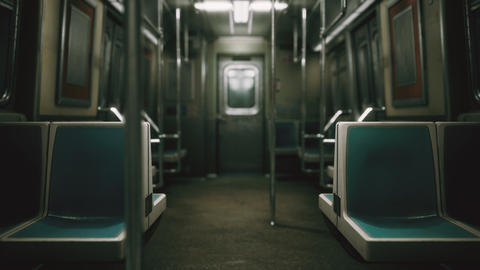 subway car in USA empty because of the coronavirus covid-19 epidemic ライブ動画