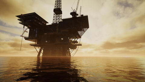 Offshore Jack Up Rig in The Middle of The Sea at Sunset Time Acción en vivo