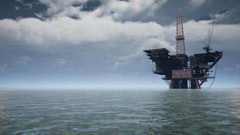 Large Pacific Ocean offshore oil rig drilling platform Acción en vivo